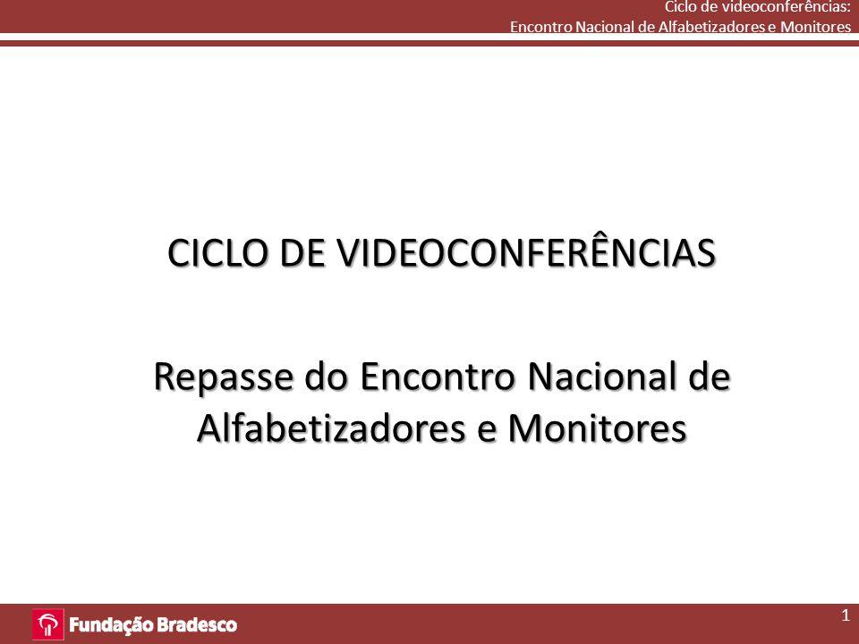 Ciclo de videoconferências: Encontro Nacional de Alfabetizadores e Monitores CICLO DE VIDEOCONFERÊNCIAS Repasse do Encontro Nacional de Alfabetizadores e Monitores 1
