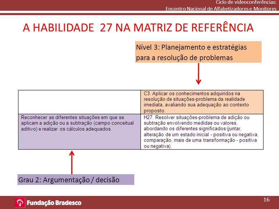Ciclo de videoconferências: Encontro Nacional de Alfabetizadores e Monitores A HABILIDADE 27 NA MATRIZ DE REFERÊNCIA Nível 3: Planejamento e estratégias para a resolução de problemas Grau 2: Argumentação / decisão 16