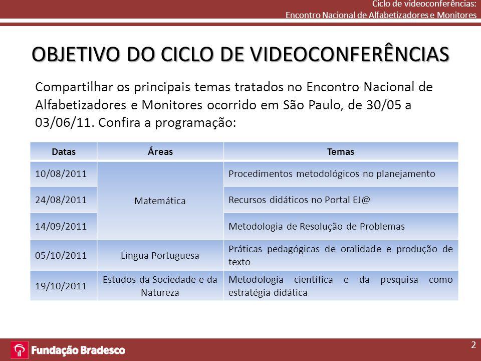 Ciclo de videoconferências: Encontro Nacional de Alfabetizadores e Monitores OBJETIVO DO CICLO DE VIDEOCONFERÊNCIAS Compartilhar os principais temas tratados no Encontro Nacional de Alfabetizadores e Monitores ocorrido em São Paulo, de 30/05 a 03/06/11.