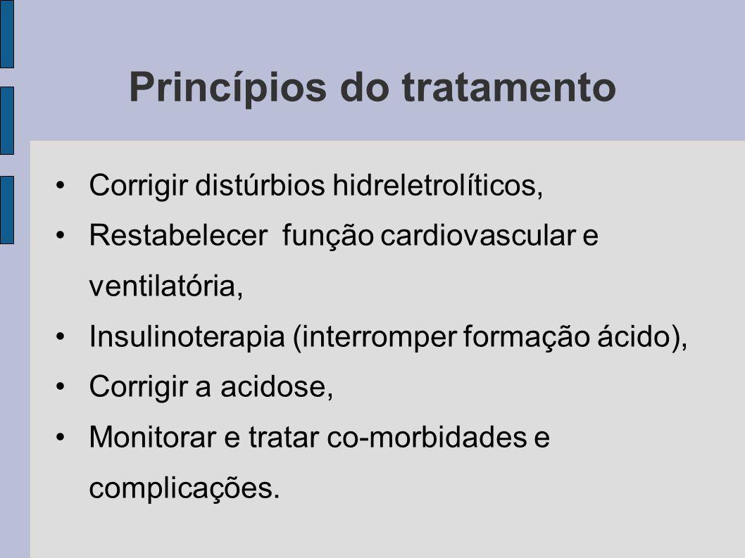 Princípios do tratamento Corrigir distúrbios hidreletrolíticos, Restabelecer função cardiovascular e ventilatória, Insulinoterapia (interromper formaç