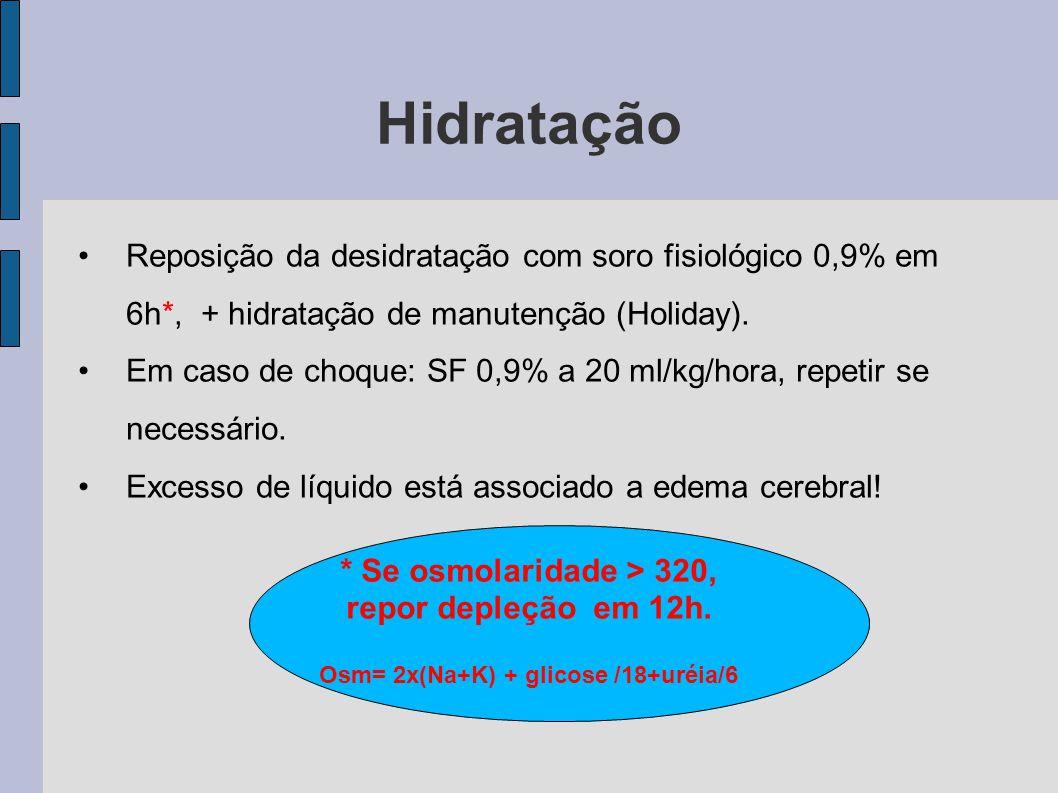 Hidratação Reposição da desidratação com soro fisiológico 0,9% em 6h*, + hidratação de manutenção (Holiday). Em caso de choque: SF 0,9% a 20 ml/kg/hor