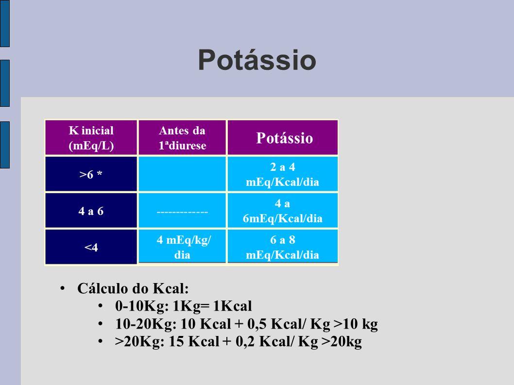 Potássio Cálculo do Kcal: 0-10Kg: 1Kg= 1Kcal 10-20Kg: 10 Kcal + 0,5 Kcal/ Kg >10 kg >20Kg: 15 Kcal + 0,2 Kcal/ Kg >20kg