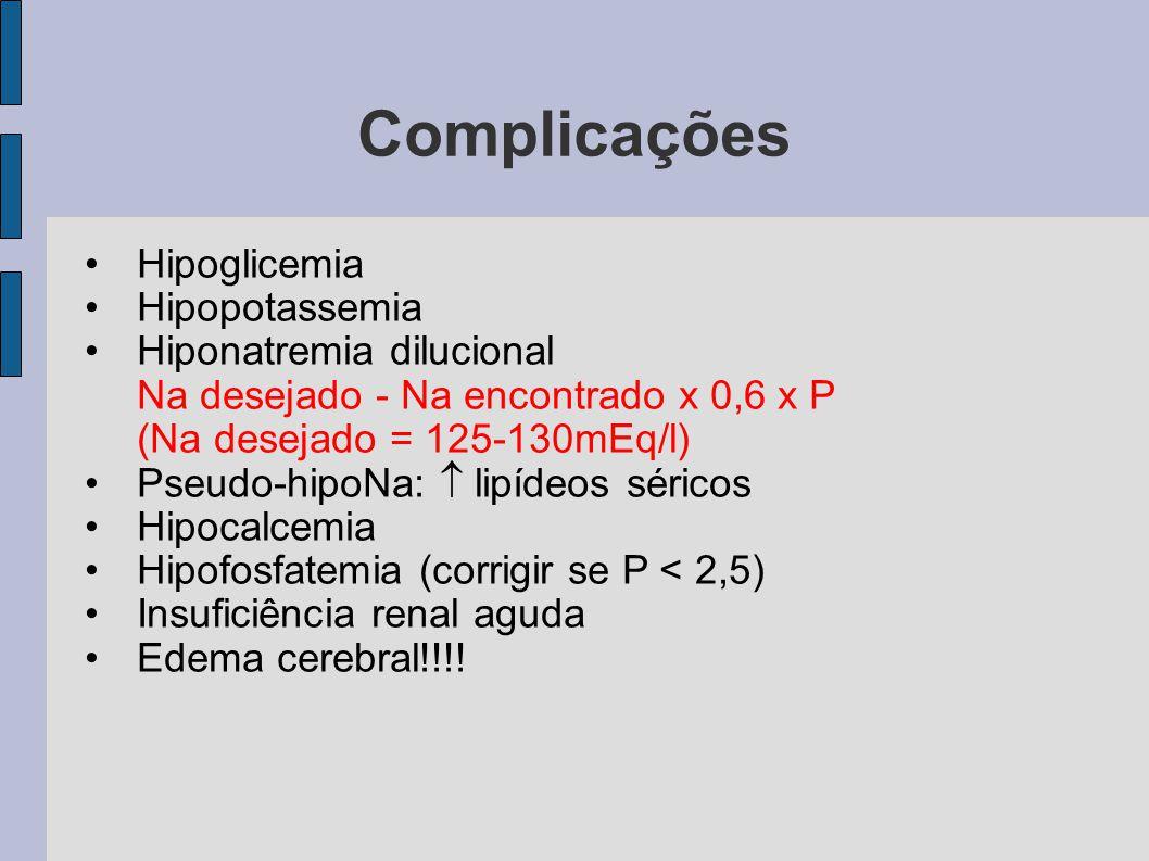 Complicações Hipoglicemia Hipopotassemia Hiponatremia dilucional Na desejado - Na encontrado x 0,6 x P (Na desejado = 125-130mEq/l) Pseudo-hipoNa:  l