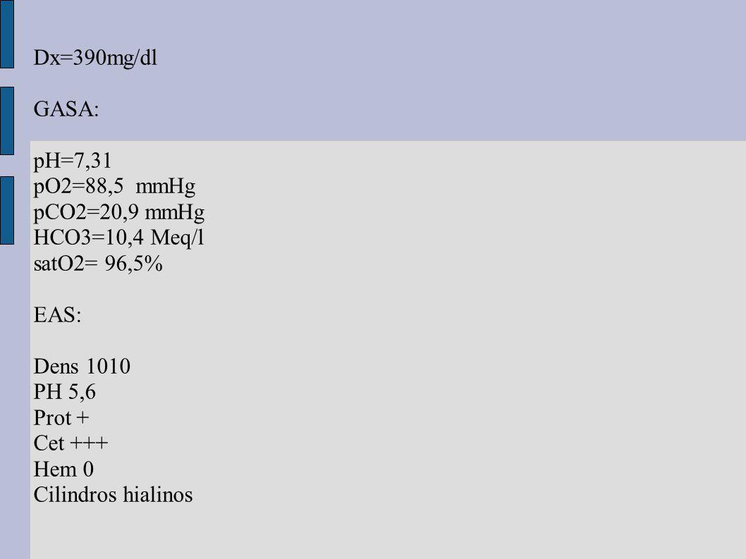 Dx=390mg/dl GASA: pH=7,31 pO2=88,5 mmHg pCO2=20,9 mmHg HCO3=10,4 Meq/l satO2= 96,5% EAS: Dens 1010 PH 5,6 Prot + Cet +++ Hem 0 Cilindros hialinos