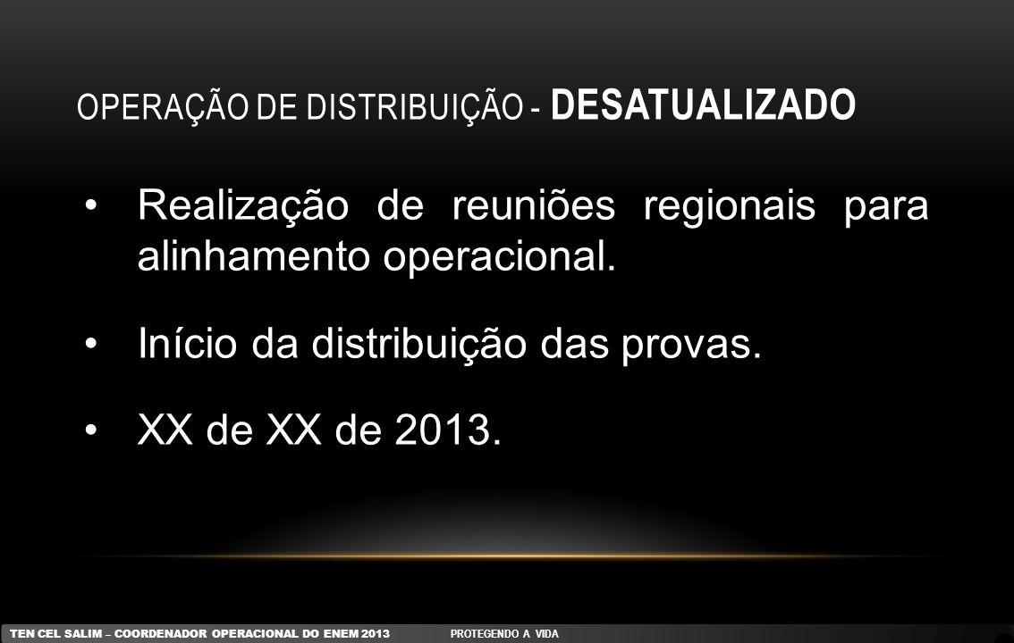OPERAÇÃO DE DISTRIBUIÇÃO - DESATUALIZADO Realização de reuniões regionais para alinhamento operacional. Início da distribuição das provas. XX de XX de