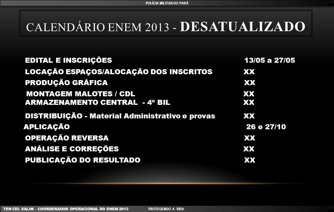 CALENDÁRIO ENEM 2013 - DESATUALIZADO EDITAL E INSCRIÇÕES 13/05 a 27/05 LOCAÇÃO ESPAÇOS/ALOCAÇÃO DOS INSCRITOS XX PRODUÇÃO GRÁFICA XX MONTAGEM MALOTES