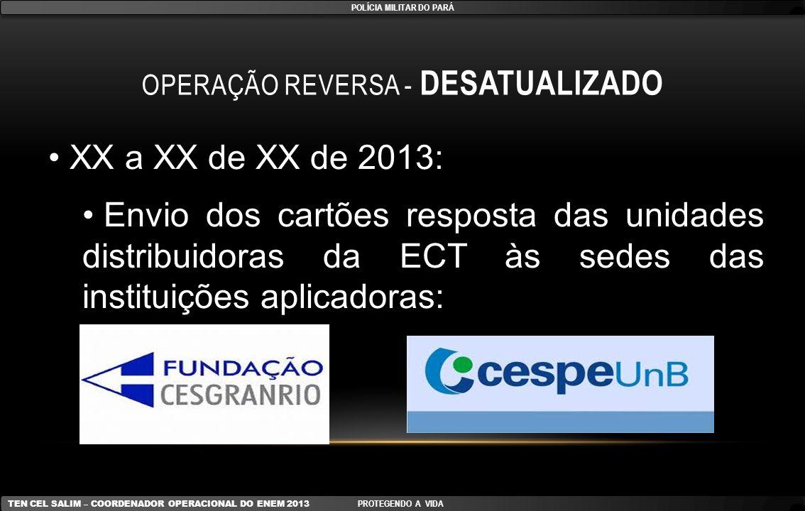 OPERAÇÃO REVERSA - DESATUALIZADO XX a XX de XX de 2013: Envio dos cartões resposta das unidades distribuidoras da ECT às sedes das instituições aplica