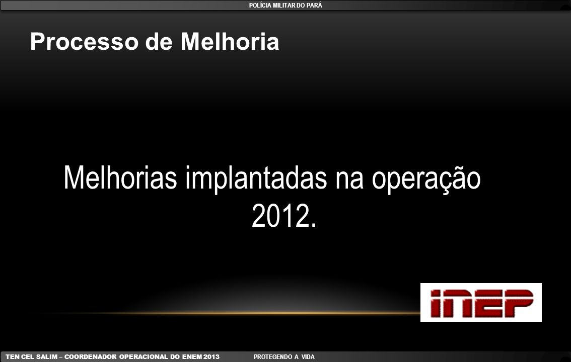 Processo de Melhoria Melhorias implantadas na operação 2012. POLÍCIA MILITAR DO PARÁ TEN CEL SALIM – COORDENADOR OPERACIONAL DO ENEM 2013 PROTEGENDO A