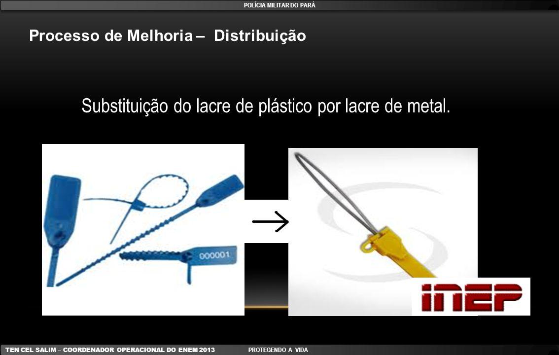 Substituição do lacre de plástico por lacre de metal. Processo de Melhoria – Distribuição POLÍCIA MILITAR DO PARÁ TEN CEL SALIM – COORDENADOR OPERACIO
