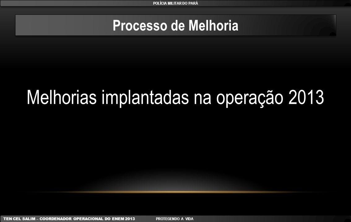 Processo de Melhoria Melhorias implantadas na operação 2013 POLÍCIA MILITAR DO PARÁ TEN CEL SALIM – COORDENADOR OPERACIONAL DO ENEM 2013 PROTEGENDO A