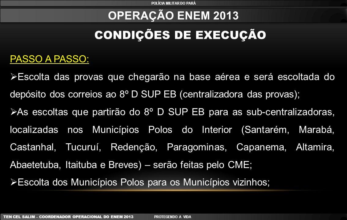 Processo de Melhoria Melhorias implantadas na operação 2011 POLÍCIA MILITAR DO PARÁ TEN CEL SALIM – COORDENADOR OPERACIONAL DO ENEM 2013 PROTEGENDO A VIDA