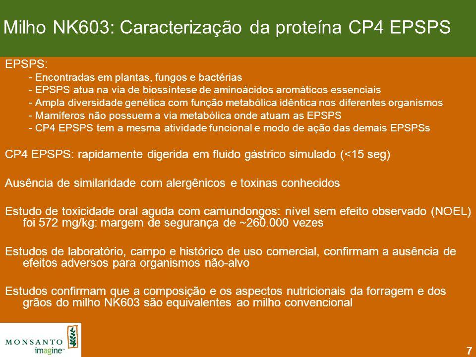 7 EPSPS: - Encontradas em plantas, fungos e bactérias - EPSPS atua na via de biossíntese de aminoácidos aromáticos essenciais - Ampla diversidade gené