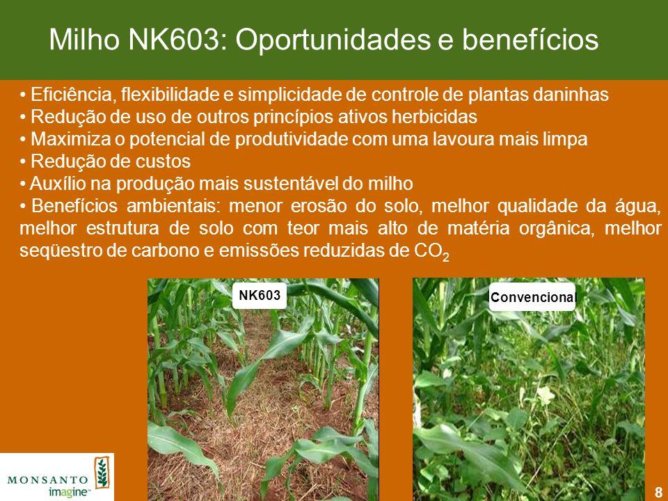 8 Milho NK603: Oportunidades e benefícios Eficiência, flexibilidade e simplicidade de controle de plantas daninhas Redução de uso de outros princípios