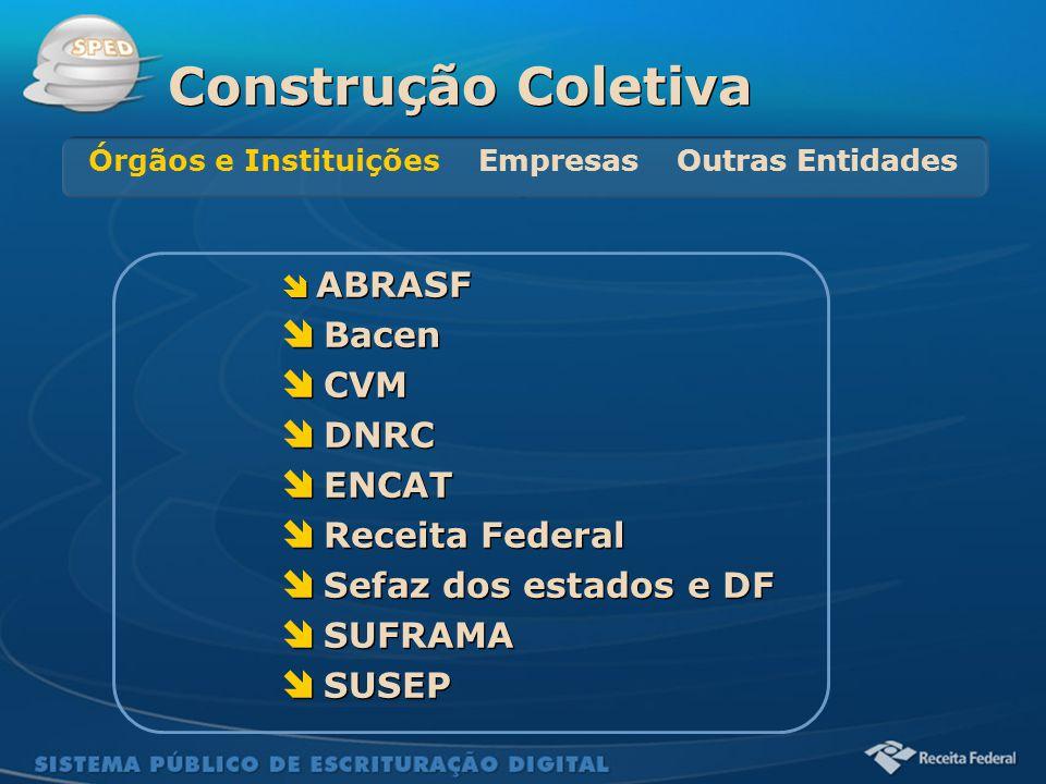 Sistema Público de Escrituração Digital  ABRASF  Bacen  CVM  DNRC  ENCAT  Receita Federal  Sefaz dos estados e DF  SUFRAMA  SUSEP  ABRASF 