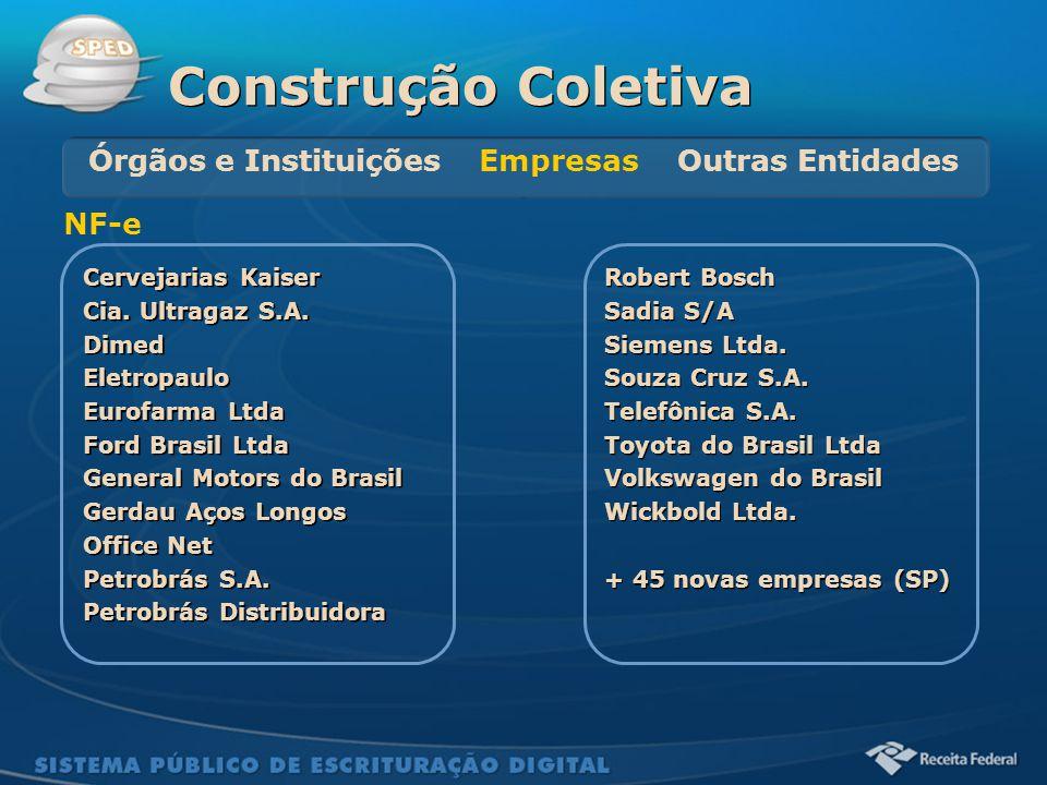 Sistema Público de Escrituração Digital Cervejarias Kaiser Cia. Ultragaz S.A. Dimed Eletropaulo Eurofarma Ltda Ford Brasil Ltda General Motors do Bras