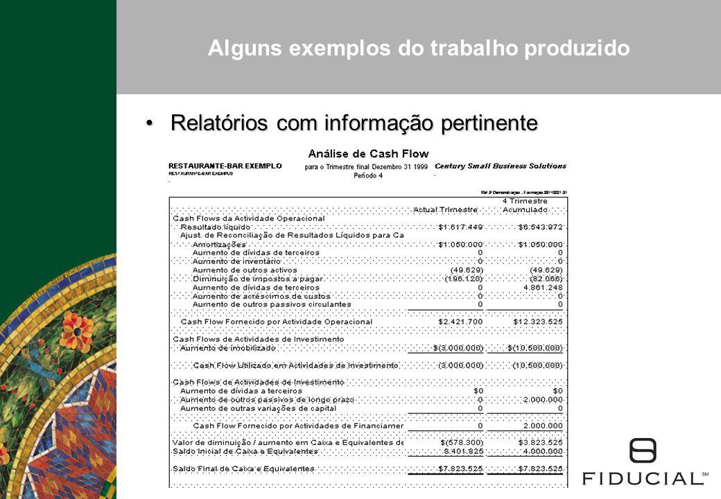Alguns exemplos do trabalho produzido Relatórios com informação pertinenteRelatórios com informação pertinente