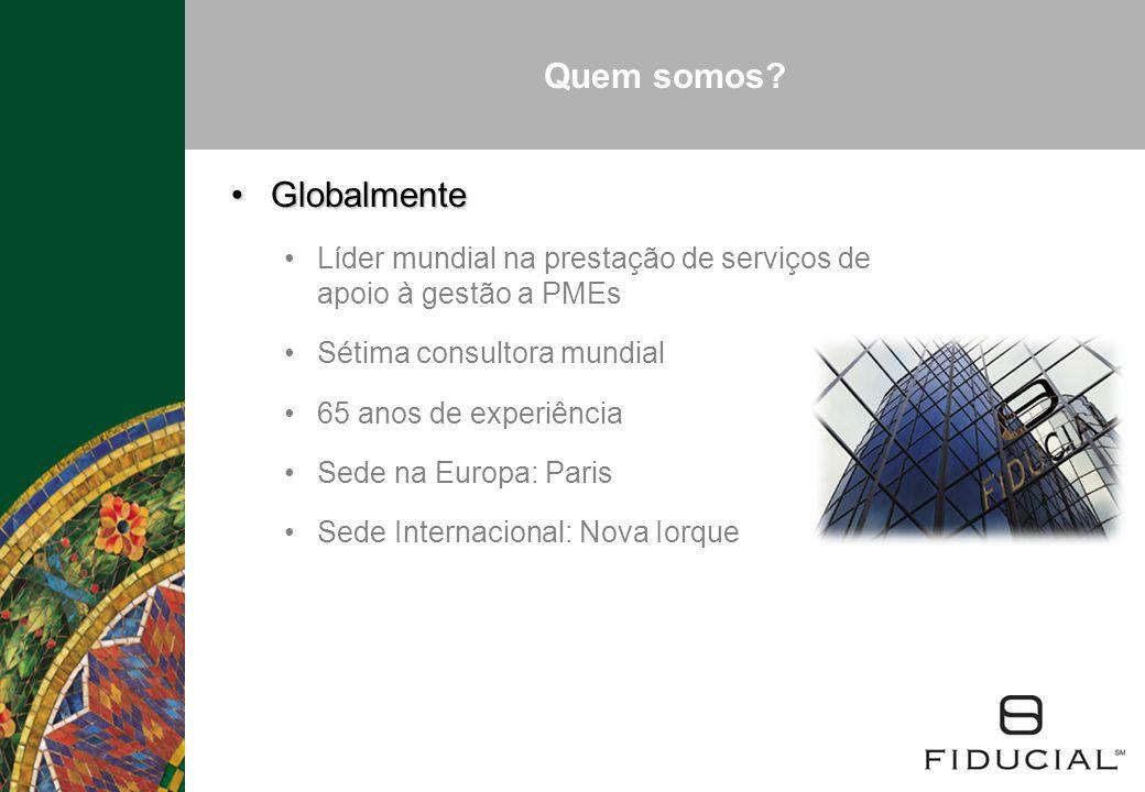 Quem somos? GlobalmenteGlobalmente Líder mundial na prestação de serviços de apoio à gestão a PMEs Sétima consultora mundial 65 anos de experiência Se
