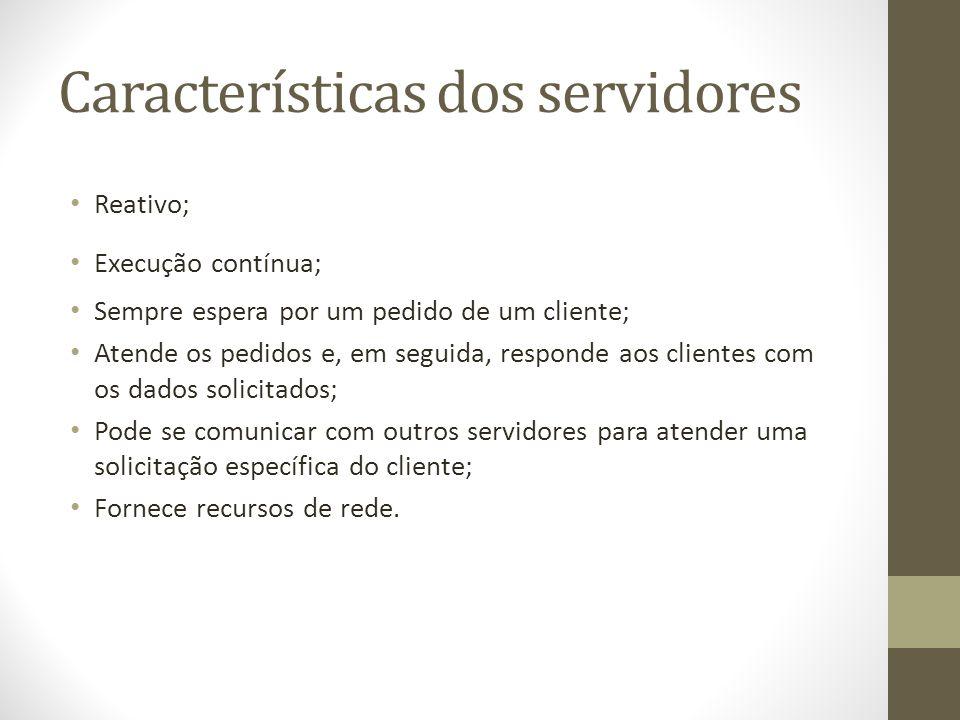 Características dos servidores Reativo; Execução contínua; Sempre espera por um pedido de um cliente; Atende os pedidos e, em seguida, responde aos cl