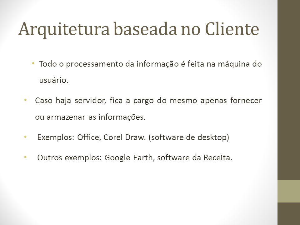 Arquitetura baseada no Cliente Todo o processamento da informação é feita na máquina do usuário. Caso haja servidor, fica a cargo do mesmo apenas forn