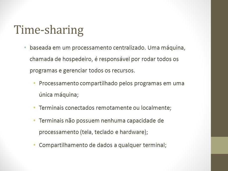 Time-sharing baseada em um processamento centralizado. Uma máquina, chamada de hospedeiro, é responsável por rodar todos os programas e gerenciar todo