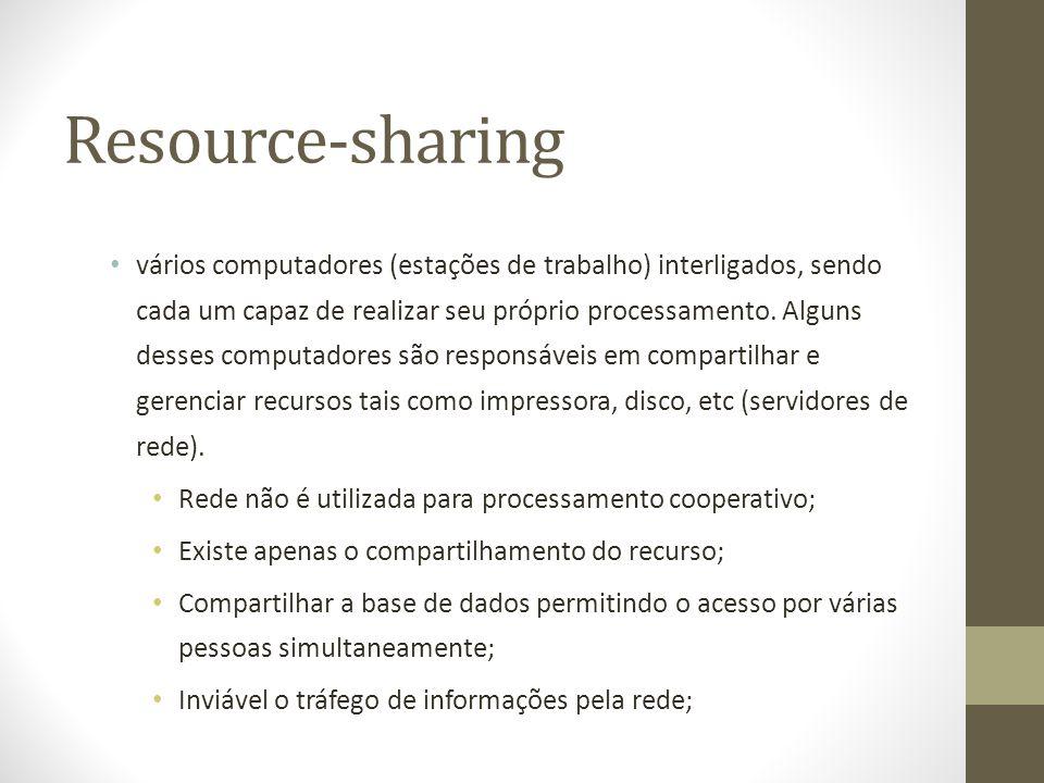 Resource-sharing vários computadores (estações de trabalho) interligados, sendo cada um capaz de realizar seu próprio processamento. Alguns desses com