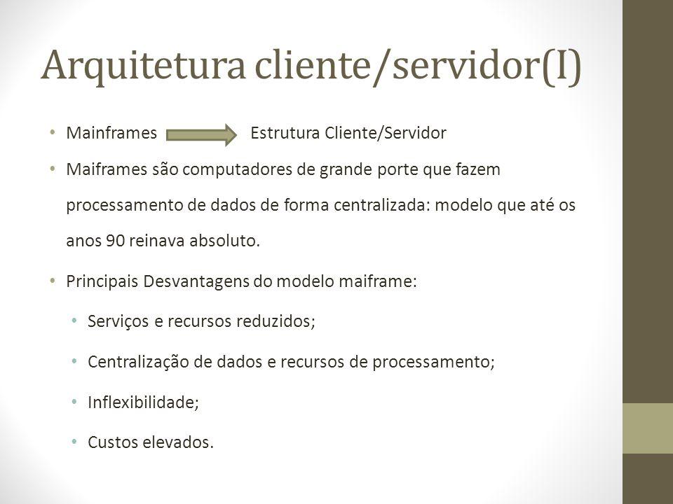Arquitetura cliente/servidor(I) Mainframes Estrutura Cliente/Servidor Maiframes são computadores de grande porte que fazem processamento de dados de forma centralizada: modelo que até os anos 90 reinava absoluto.