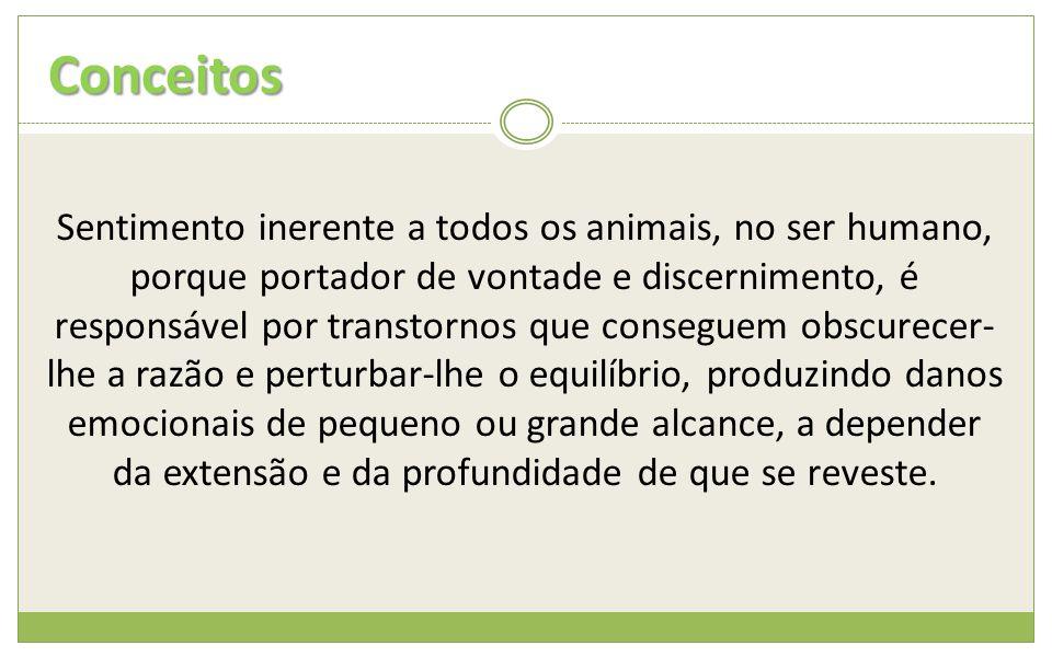 Conceitos Sentimento inerente a todos os animais, no ser humano, porque portador de vontade e discernimento, é responsável por transtornos que consegu