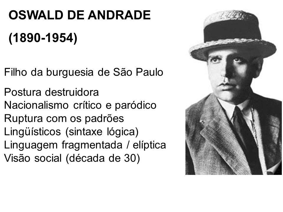 OSWALD DE ANDRADE (1890-1954) Filho da burguesia de São Paulo Postura destruidora Nacionalismo crítico e paródico Ruptura com os padrões Lingüísticos