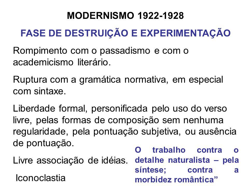 MODERNISMO 1922-1928 FASE DE DESTRUIÇÃO E EXPERIMENTAÇÃO Rompimento com o passadismo e com o academicismo literário. Ruptura com a gramática normativa