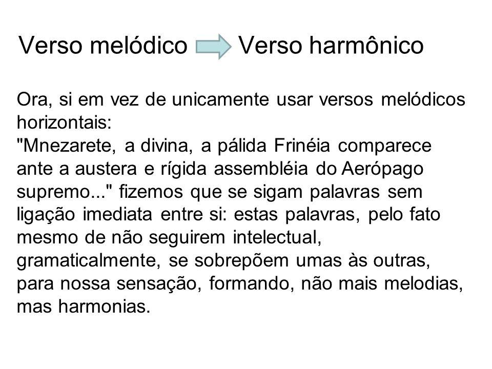 Verso melódico Verso harmônico Ora, si em vez de unicamente usar versos melódicos horizontais: