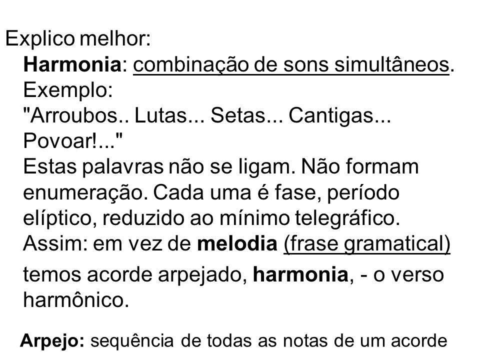 Explico melhor: Harmonia: combinação de sons simultâneos. Exemplo: