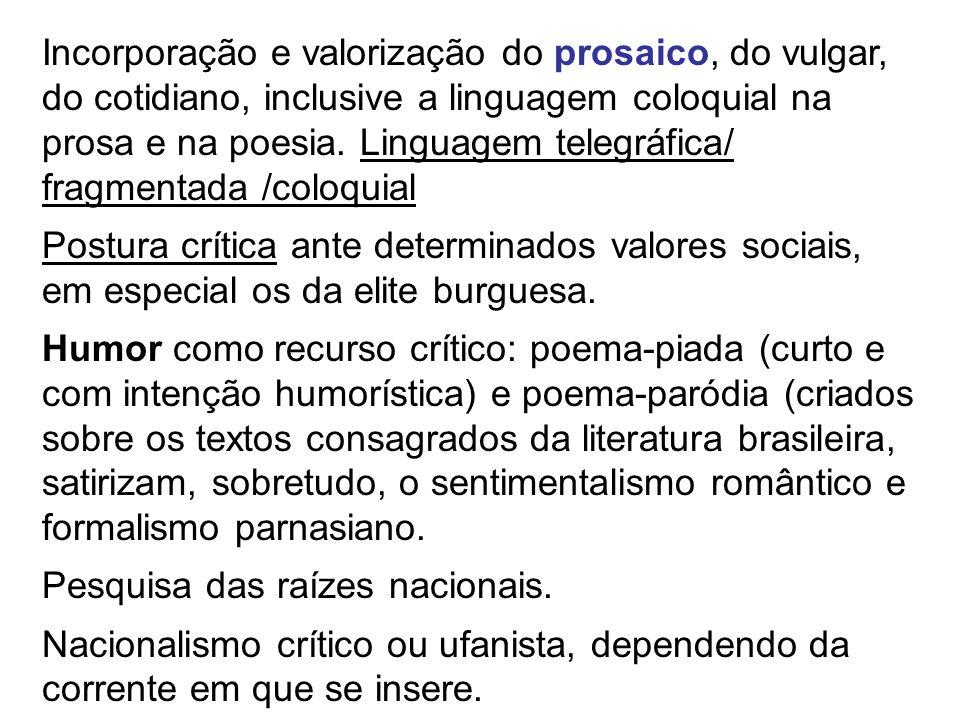  Manifestos: Pau-Brasil (1924): Oswald de Andrade, neste manifesto, pregava uma literatura extremamente vinculada à realidade brasileira, buscando um redescoberta do Brasil.