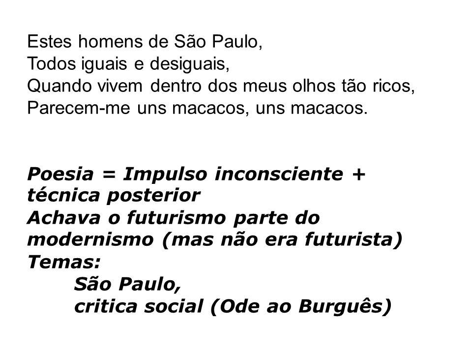 Estes homens de São Paulo, Todos iguais e desiguais, Quando vivem dentro dos meus olhos tão ricos, Parecem-me uns macacos, uns macacos. Poesia = Impul