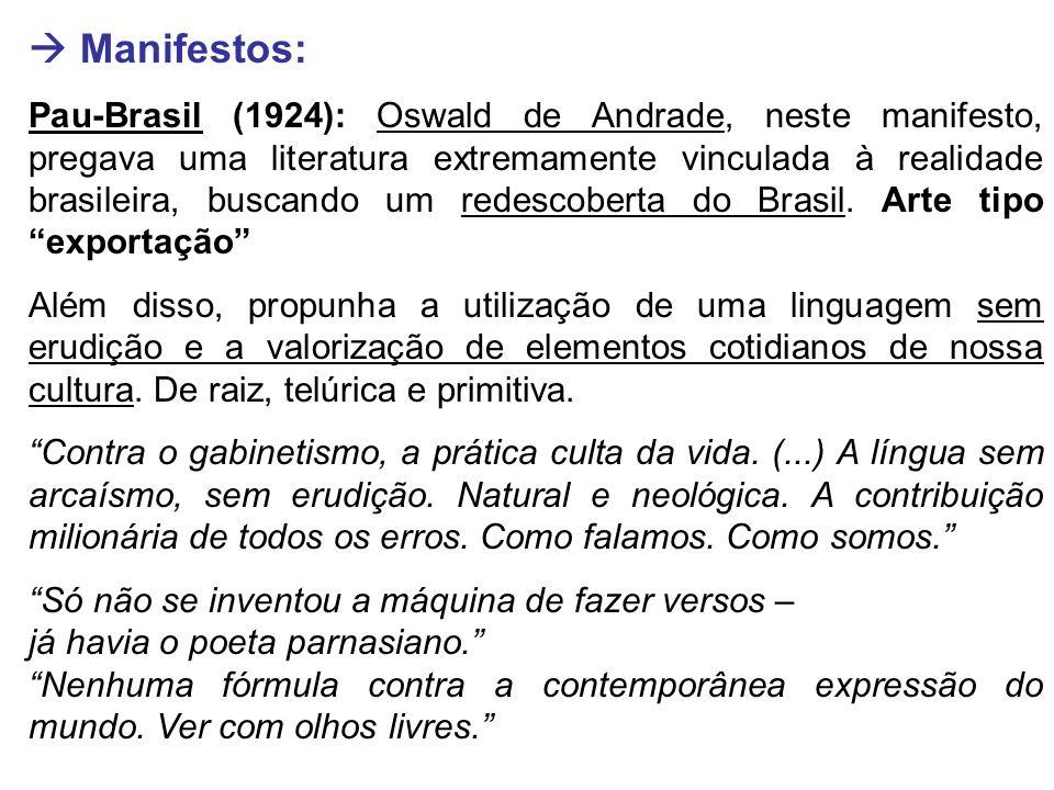  Manifestos: Pau-Brasil (1924): Oswald de Andrade, neste manifesto, pregava uma literatura extremamente vinculada à realidade brasileira, buscando um