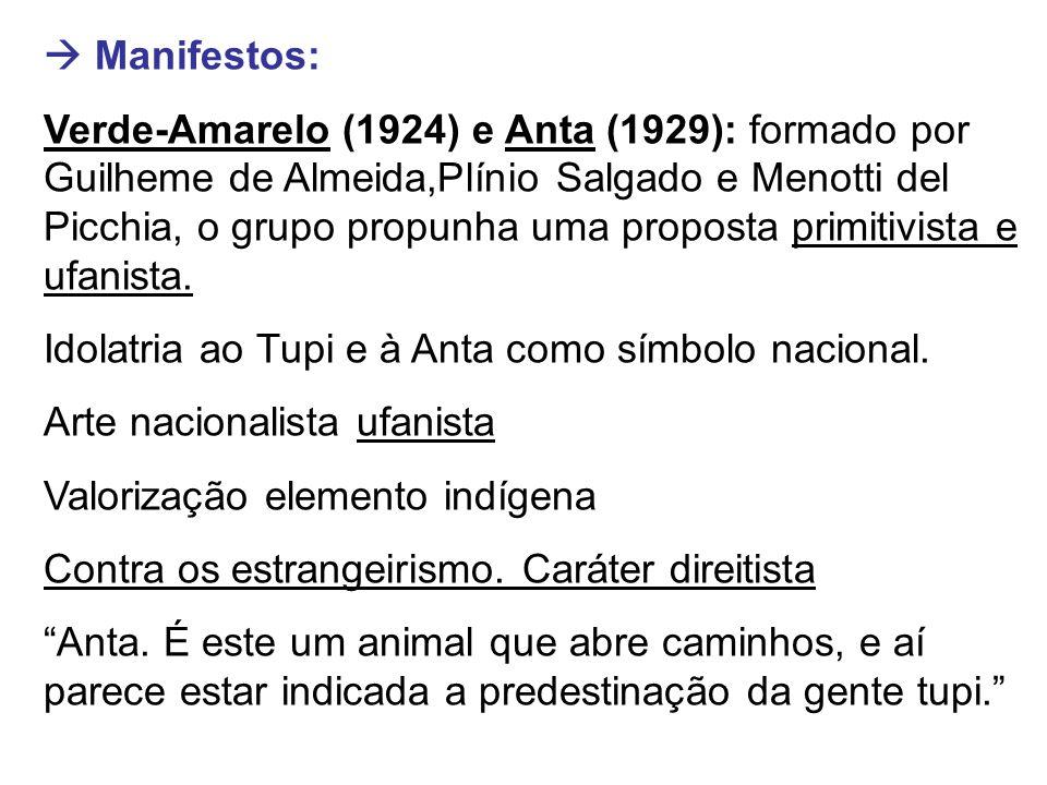  Manifestos: Verde-Amarelo (1924) e Anta (1929): formado por Guilheme de Almeida,Plínio Salgado e Menotti del Picchia, o grupo propunha uma proposta