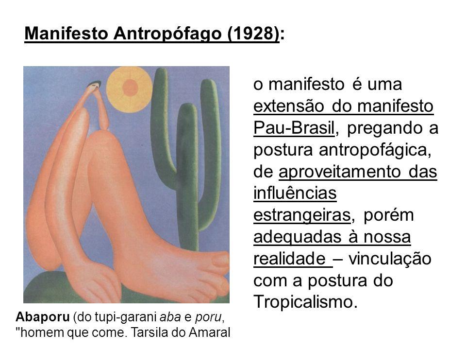 o manifesto é uma extensão do manifesto Pau-Brasil, pregando a postura antropofágica, de aproveitamento das influências estrangeiras, porém adequadas