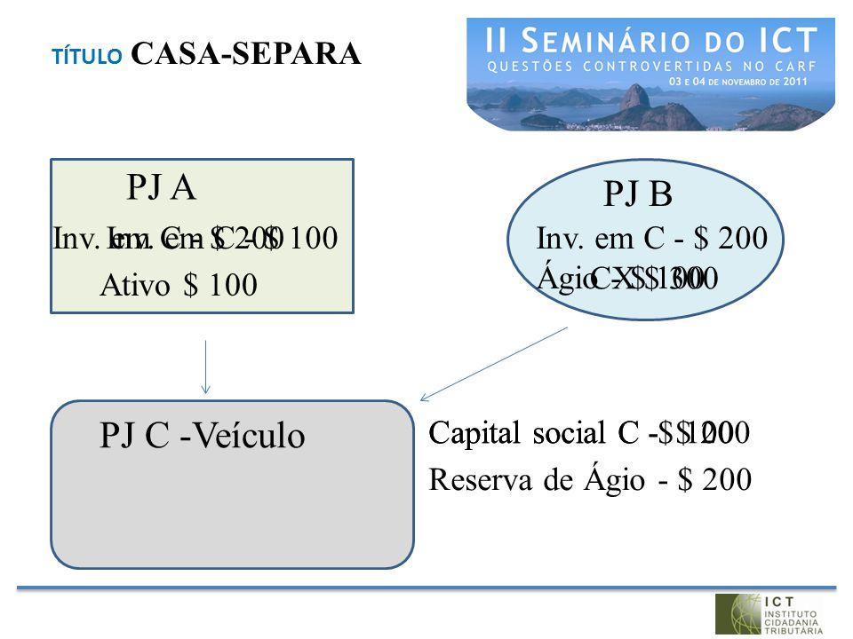 TÍTULO CASA-SEPARA PJ A PJ B PJ C -Veículo Ativo $ 100 Inv. em C - $ 100 Capital social C -$ 100Capital social C - $ 200 CX $ 300 Reserva de Ágio - $