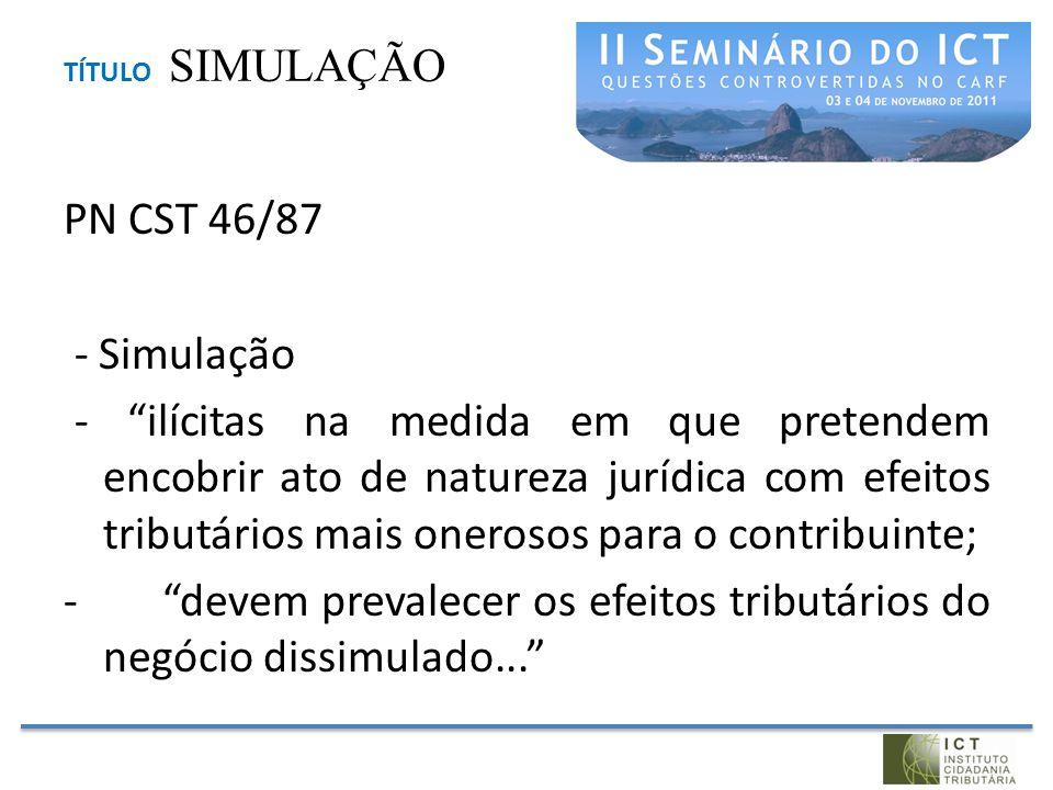 """TÍTULO SIMULAÇÃO PN CST 46/87 - Simulação - """"ilícitas na medida em que pretendem encobrir ato de natureza jurídica com efeitos tributários mais oneros"""