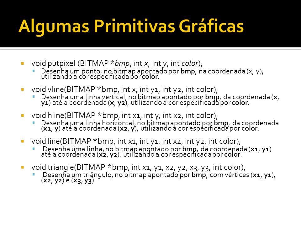  void putpixel (BITMAP *bmp, int x, int y, int color);  Desenha um ponto, no bitmap apontado por bmp, na coordenada (x, y), utilizando a cor especif