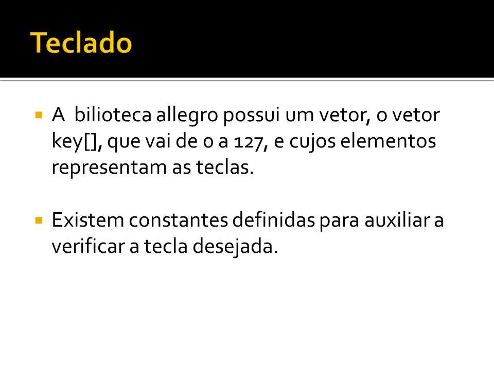  A bilioteca allegro possui um vetor, o vetor key[], que vai de 0 a 127, e cujos elementos representam as teclas.  Existem constantes definidas para