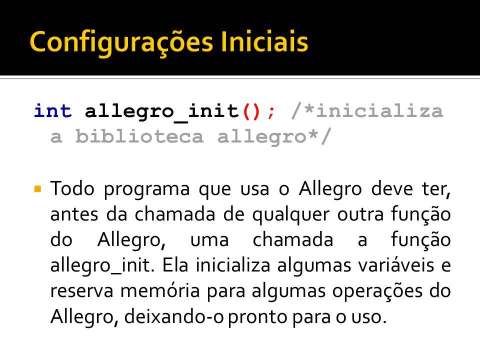 int allegro_init(); /*inicializa a biblioteca allegro*/  Todo programa que usa o Allegro deve ter, antes da chamada de qualquer outra função do Alleg