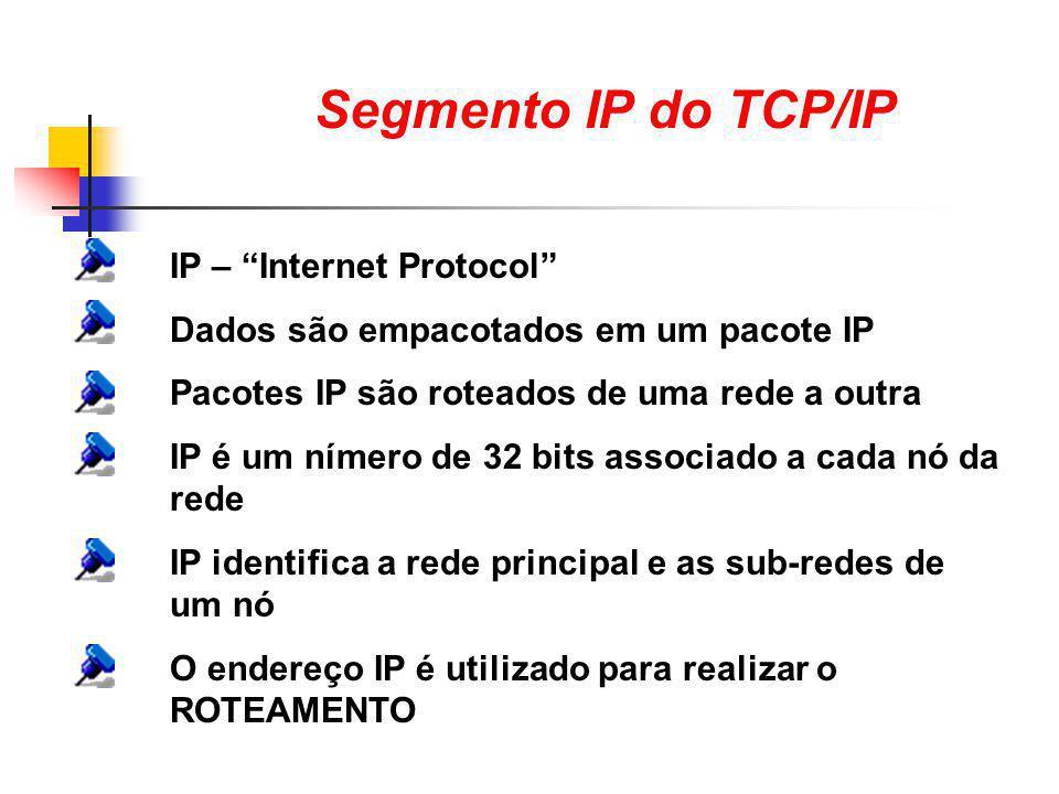 """Segmento IP do TCP/IP IP – """"Internet Protocol"""" Dados são empacotados em um pacote IP Pacotes IP são roteados de uma rede a outra IP é um nímero de 32"""