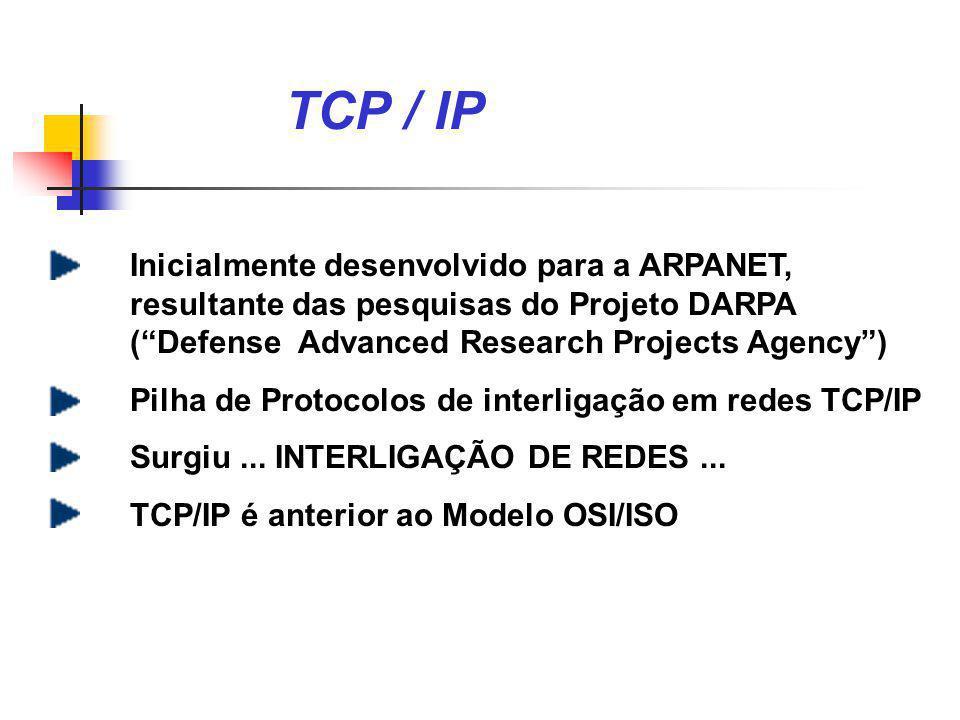 História e escopo do TCP / IP Internet teve início --- 1980 ARPANET --- backbone da Internet 1983 : a Defense Communication Agency (DCA) separou a ARPANET em duas partes: (1) para futuras pesquisas (2) para fins militares (MILNET) 1986 : novo backbone (NSFNET) 1993 : mais de 3 milhões de computadores em 61 países