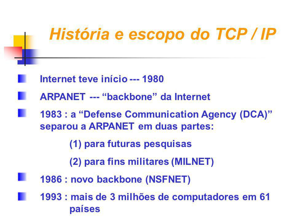 "História e escopo do TCP / IP Internet teve início --- 1980 ARPANET --- ""backbone"" da Internet 1983 : a ""Defense Communication Agency (DCA)"" separou a"