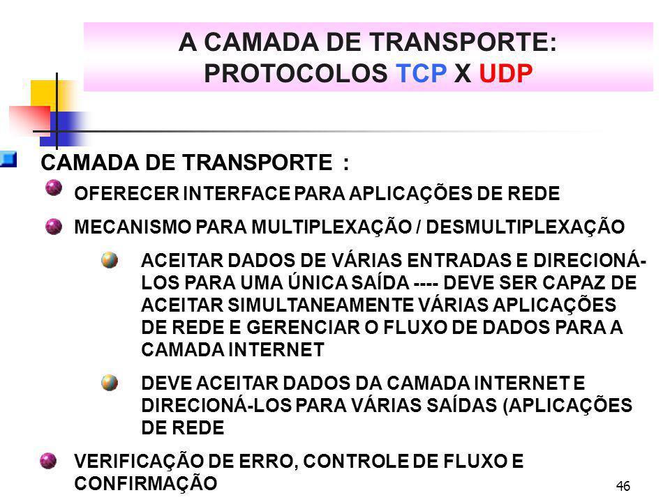 46 A CAMADA DE TRANSPORTE: PROTOCOLOS TCP X UDP CAMADA DE TRANSPORTE : OFERECER INTERFACE PARA APLICAÇÕES DE REDE MECANISMO PARA MULTIPLEXAÇÃO / DESMU