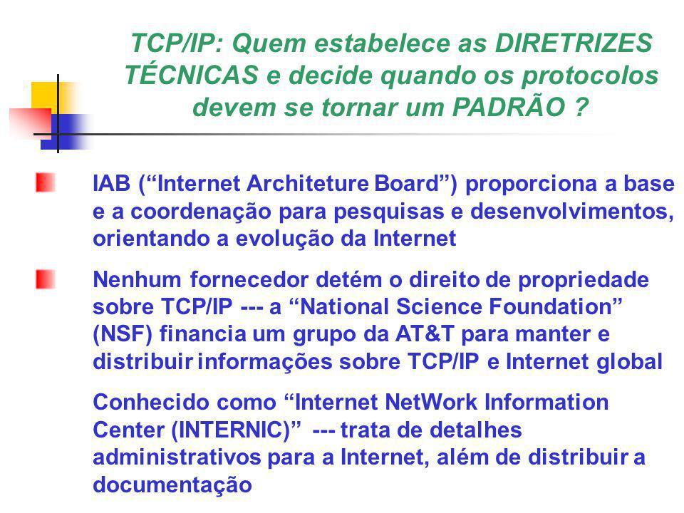 Segmento IP do TCP/IP IP – Internet Protocol Dados são empacotados em um pacote IP Pacotes IP são roteados de uma rede a outra IP é um nímero de 32 bits associado a cada nó da rede IP identifica a rede principal e as sub-redes de um nó O endereço IP é utilizado para realizar o ROTEAMENTO