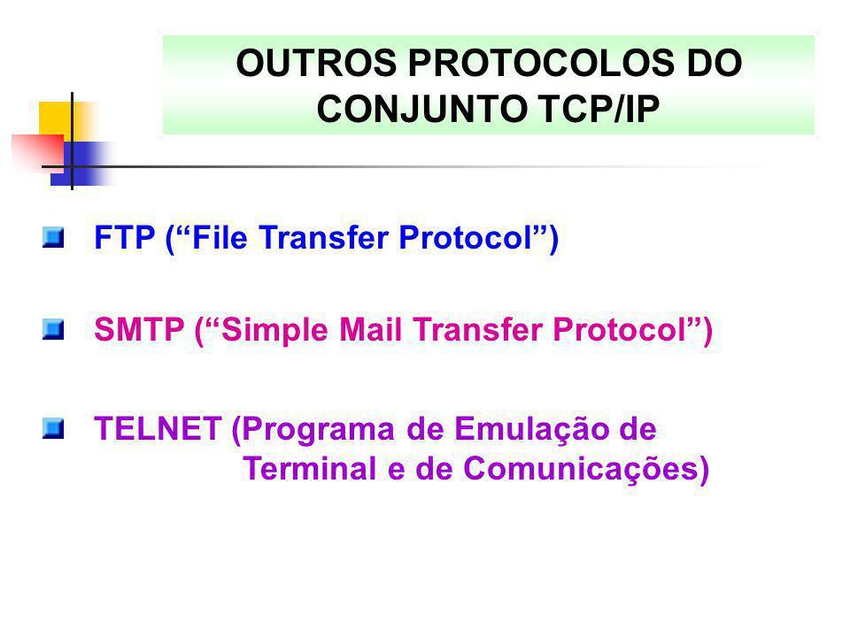 """OUTROS PROTOCOLOS DO CONJUNTO TCP/IP FTP (""""File Transfer Protocol"""") SMTP (""""Simple Mail Transfer Protocol"""") TELNET (Programa de Emulação de Terminal e"""