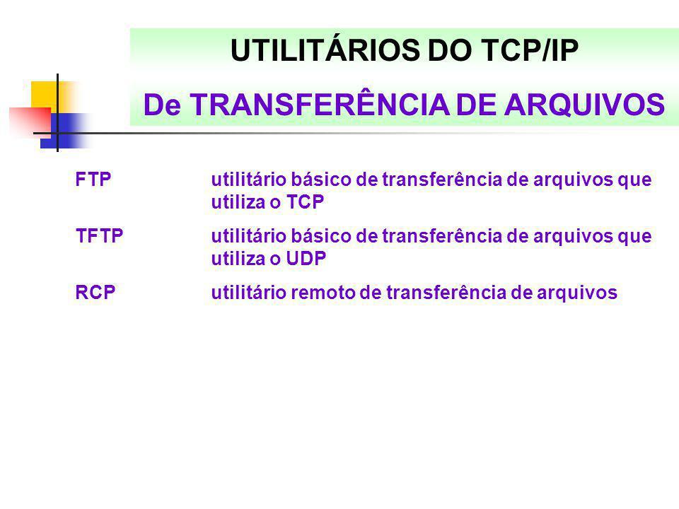 UTILITÁRIOS DO TCP/IP De TRANSFERÊNCIA DE ARQUIVOS FTPutilitário básico de transferência de arquivos que utiliza o TCP TFTPutilitário básico de transf
