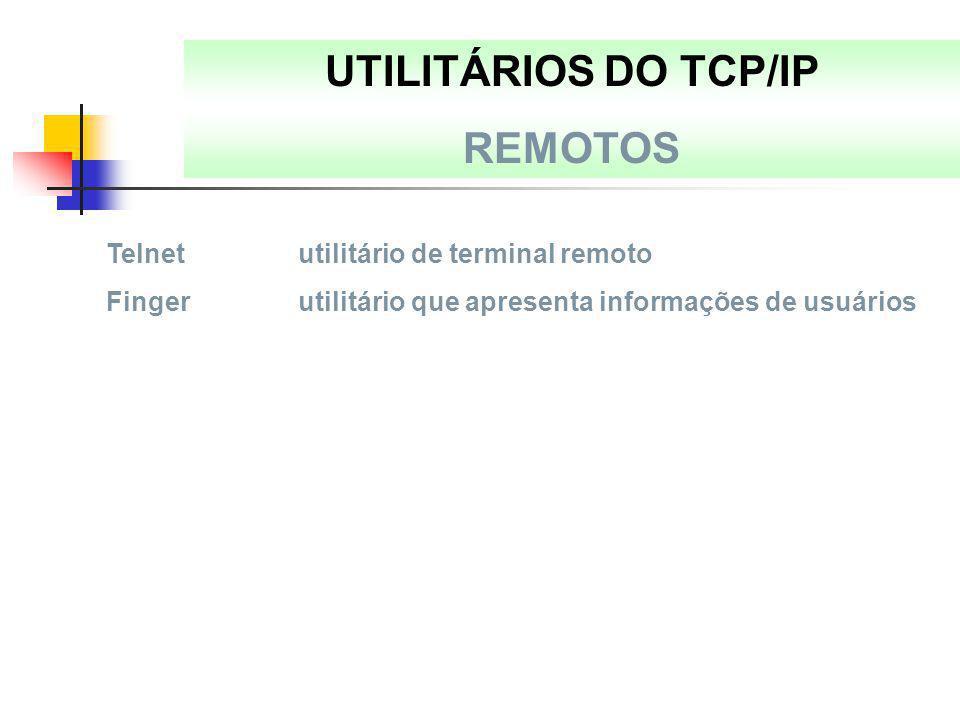 UTILITÁRIOS DO TCP/IP REMOTOS Telnetutilitário de terminal remoto Fingerutilitário que apresenta informações de usuários