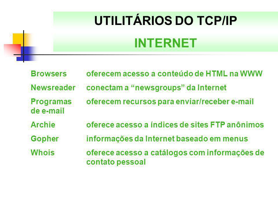 """UTILITÁRIOS DO TCP/IP INTERNET Browsersoferecem acesso a conteúdo de HTML na WWW Newsreaderconectam a """"newsgroups"""" da Internet Programas oferecem recu"""